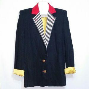 VTG Criscione Blazer Black Red Yellow Stripes EUC